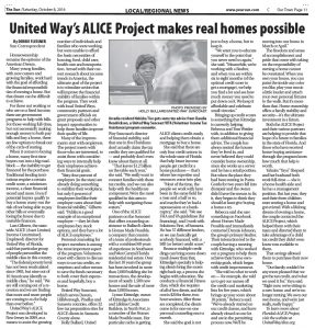 The Sun: 10.8.16 Article on United Way A.L.I.C.E.
