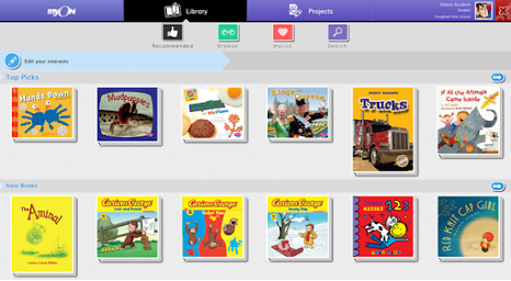 Illustration shows the myON reading program software with many children's book covers.