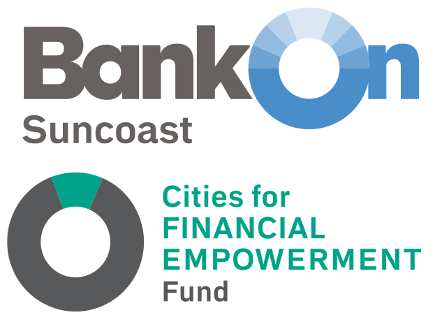 BankOn Suncoast Logo with Cities for Financial Empowerment Fund logo